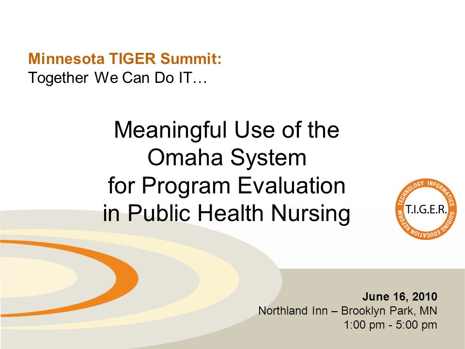 Minnesota TIGER Summit: Together We Can Do IT… June 16, 2010 Northland Inn – Brooklyn Park, MN 1:00 pm - 5:00 pm Meaningful Use of the Omaha System for Program Evaluation in Public Health Nursing