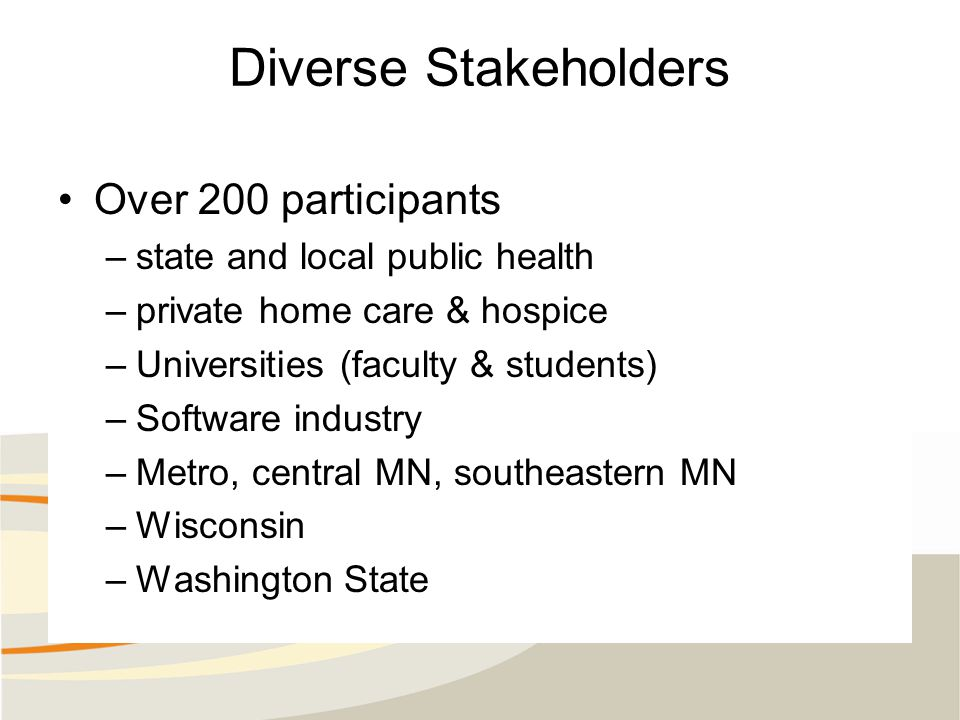 Diverse Stakeholders Over 200 participants –state and local public health –private home care & hospice –Universities (faculty & students) –Software industry –Metro, central MN, southeastern MN –Wisconsin –Washington State