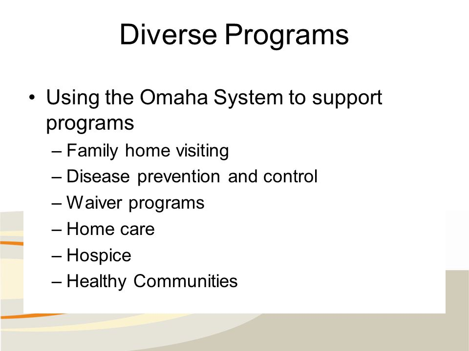 Diverse Programs Using the Omaha System to support programs –Family home visiting –Disease prevention and control –Waiver programs –Home care –Hospice –Healthy Communities