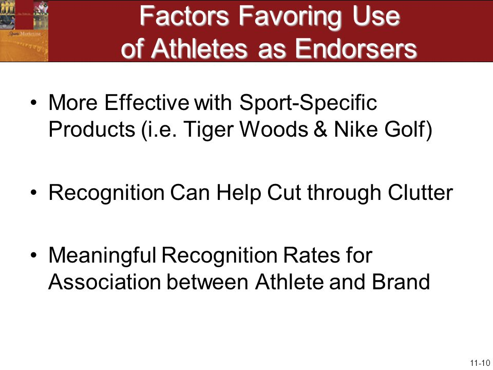 11-10 Factors Favoring Use of Athletes as Endorsers More Effective with Sport-Specific Products (i.e.