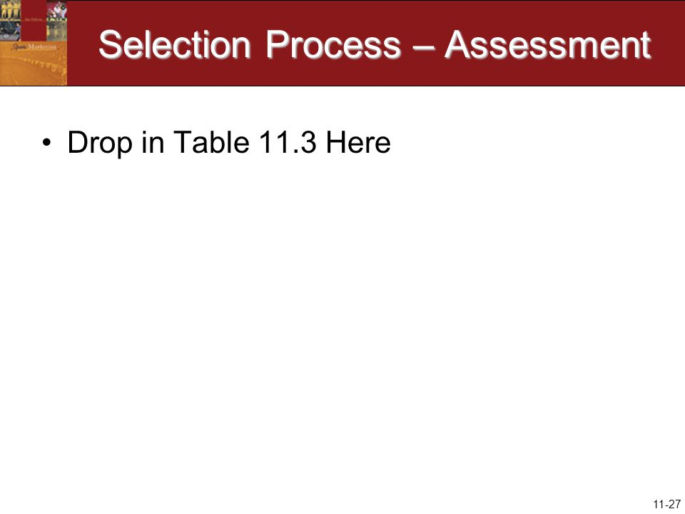11-27 Selection Process – Assessment Drop in Table 11.3 Here