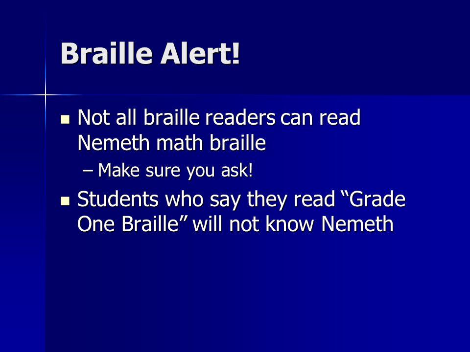 Braille Alert.