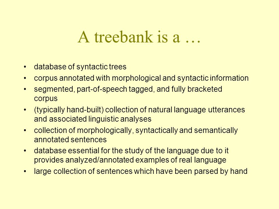 Szeged Treebank (I) syntactic structures for Hungarian developed at University of Szeged 82 kS, 1.2 MW(+200000 punctuation marks) 5 types of text material: fiction, compositions of 14-16- year-old students, newspaper articles, IT texts, law manual morphological disambiguation and syntactic annotation