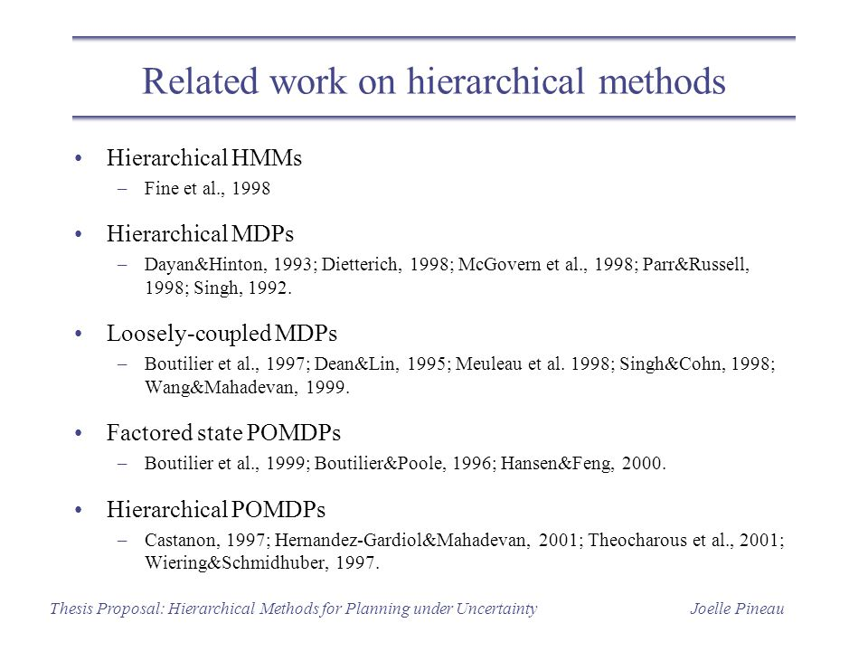 Joelle PineauThesis Proposal: Hierarchical Methods for Planning under Uncertainty Related work on hierarchical methods Hierarchical HMMs –Fine et al.,