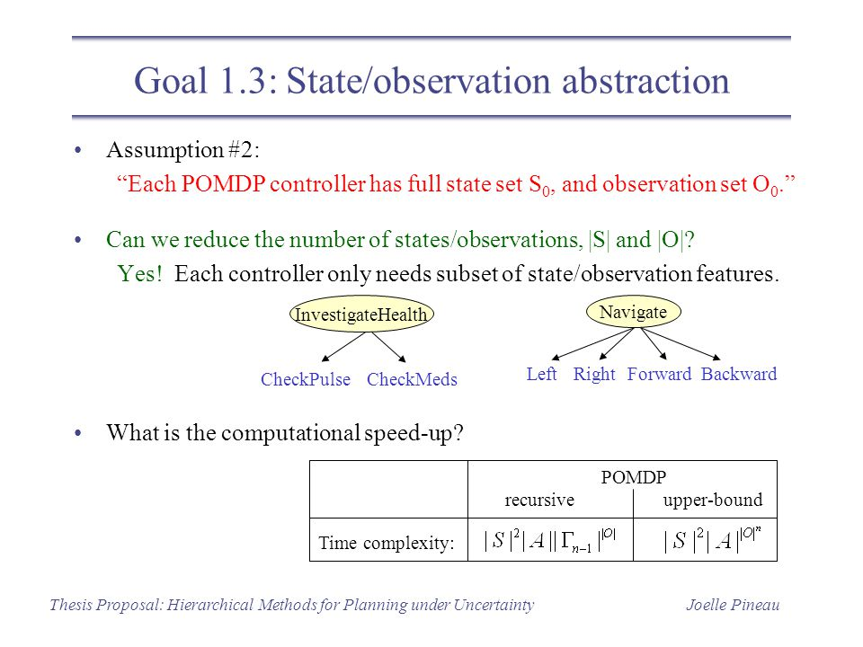 Joelle PineauThesis Proposal: Hierarchical Methods for Planning under Uncertainty Assumption #2: Each POMDP controller has full state set S 0, and observation set O 0. Can we reduce the number of states/observations, |S| and |O|.