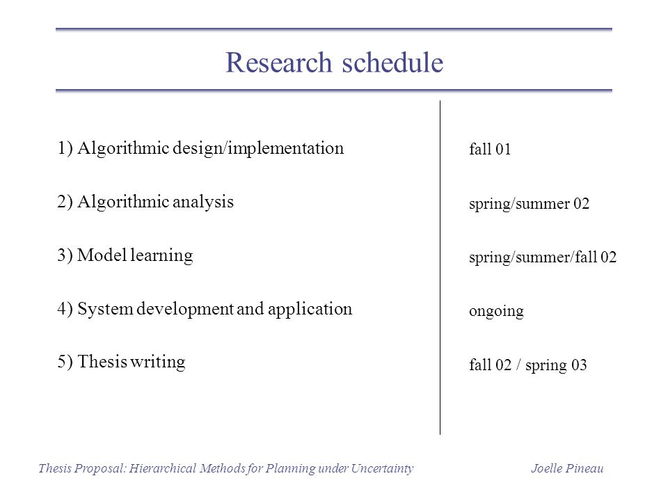 Joelle PineauThesis Proposal: Hierarchical Methods for Planning under Uncertainty Research schedule 1) Algorithmic design/implementation 2) Algorithmic analysis 3) Model learning 4) System development and application 5) Thesis writing fall 01 spring/summer 02 spring/summer/fall 02 ongoing fall 02 / spring 03