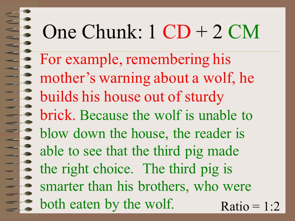 """TS, CD, CM, CS—Now What? CHUNKING For a literary response, we will use a combination (or """"ratio"""") of 1:2. That is, for every 1 CD, you will have 2 CMs"""