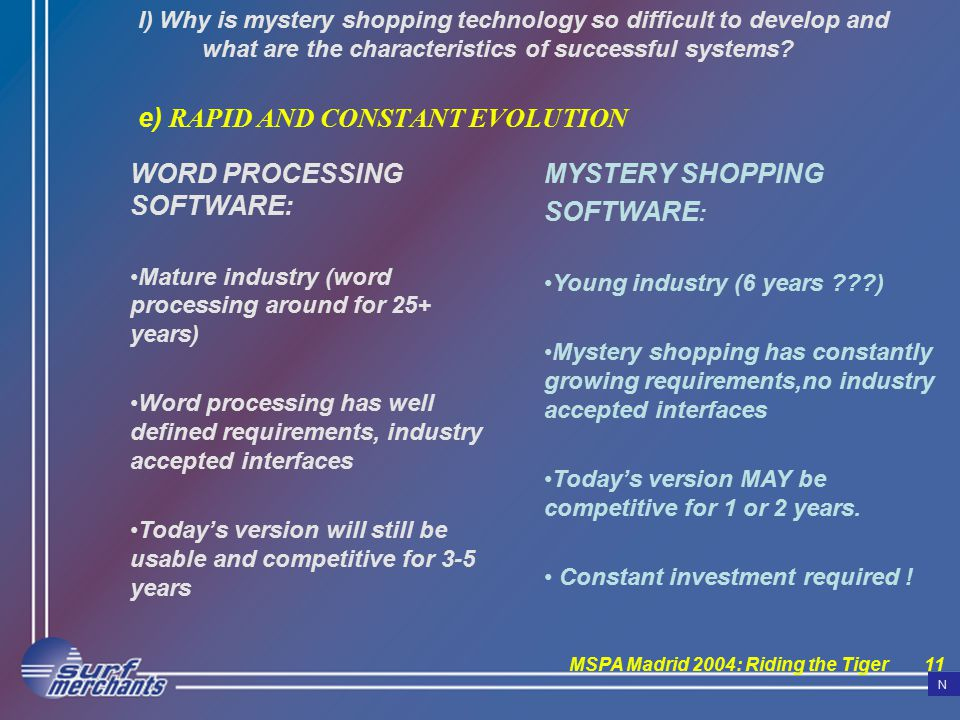 MSPA Madrid 2004: Riding the Tiger11 I) Why is mystery shopping technology so difficult to develop and what are the characteristics of successful systems.