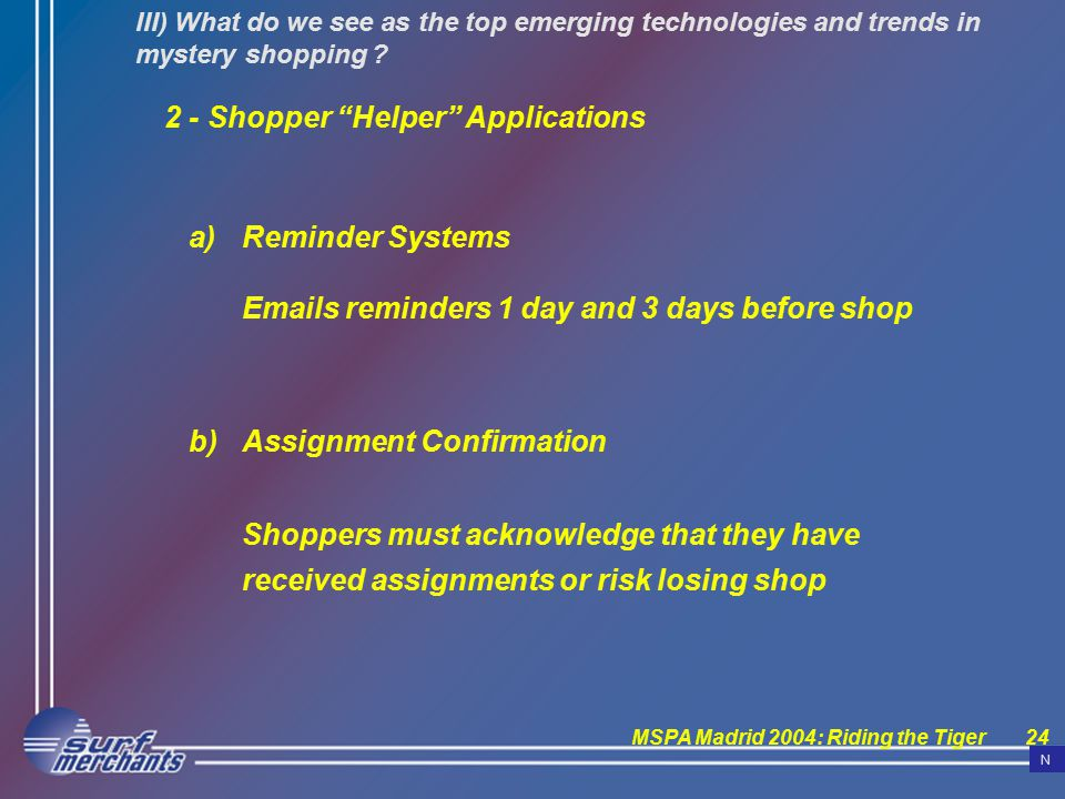 MSPA Madrid 2004: Riding the Tiger24 III) What do we see as the top emerging technologies and trends in mystery shopping .