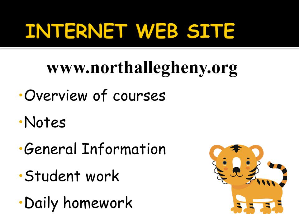 www.northallegheny.org Overview of courses Notes General Information Student work Daily homework