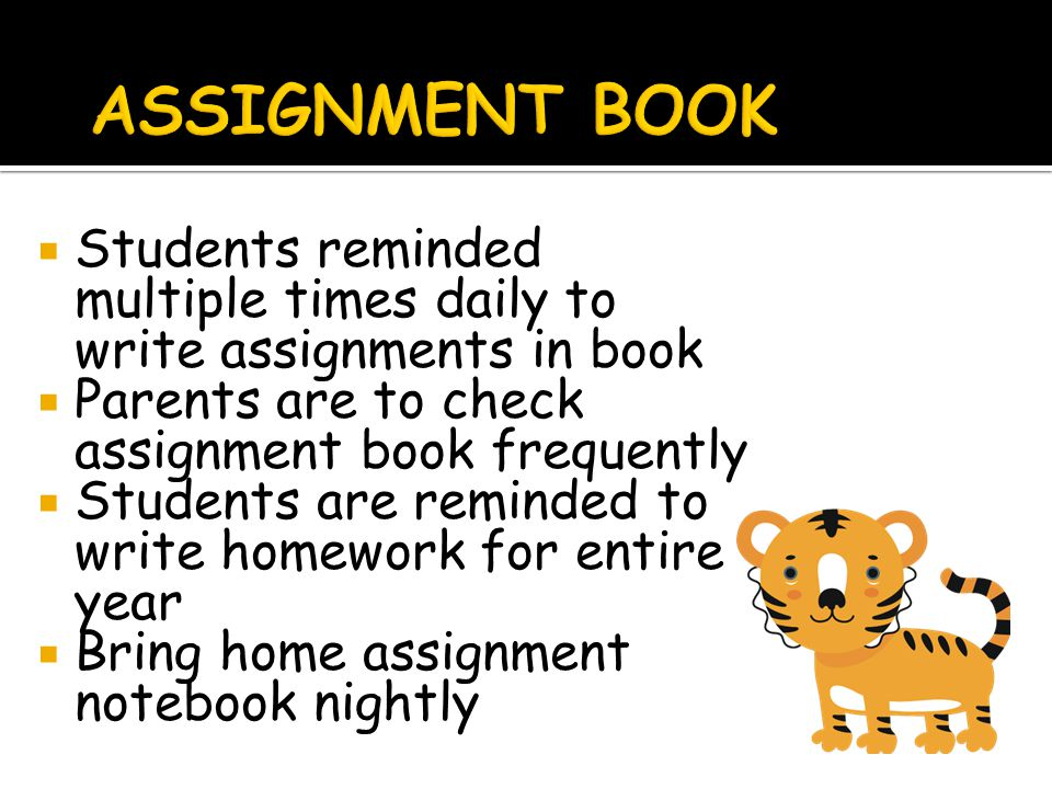  Students reminded multiple times daily to write assignments in book  Parents are to check assignment book frequently  Students are reminded to write homework for entire year  Bring home assignment notebook nightly