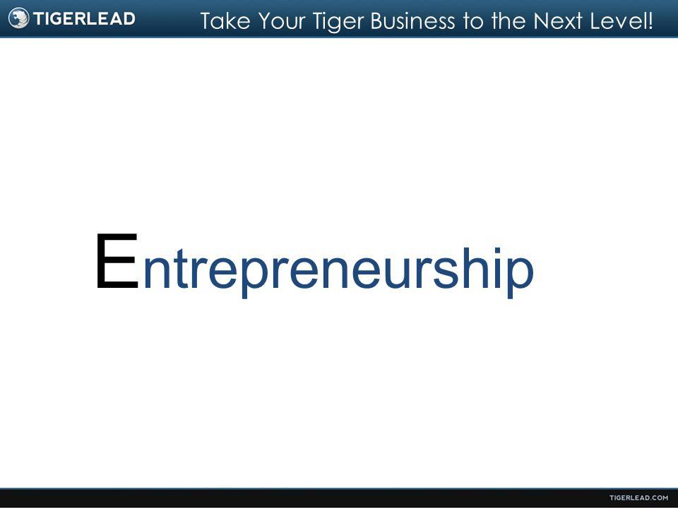 Take Your Tiger Business to the Next Level! E ntrepreneurship
