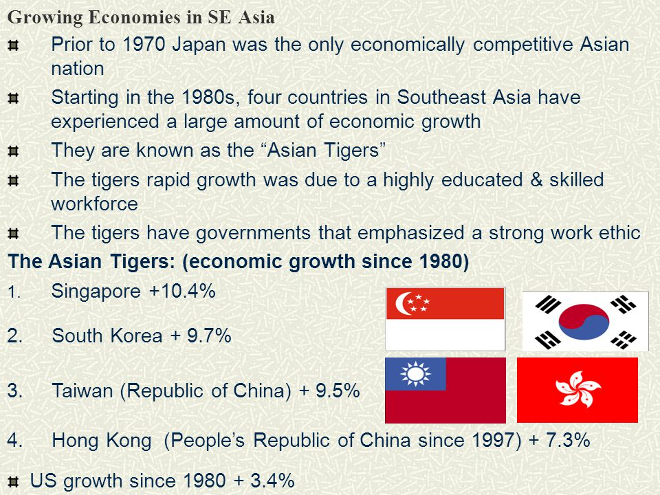 Growing Economies in SE Asia Prior to 1970 Japan was the only economically competitive Asian nation Starting in the 1980s, four countries in Southeast Asia have experienced a large amount of economic growth They are known as the Asian Tigers The tigers rapid growth was due to a highly educated & skilled workforce The tigers have governments that emphasized a strong work ethic The Asian Tigers: (economic growth since 1980) 1.