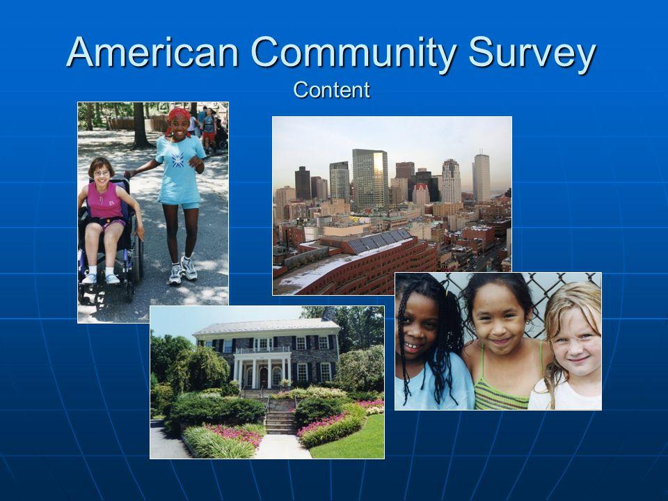 American Community Survey Content