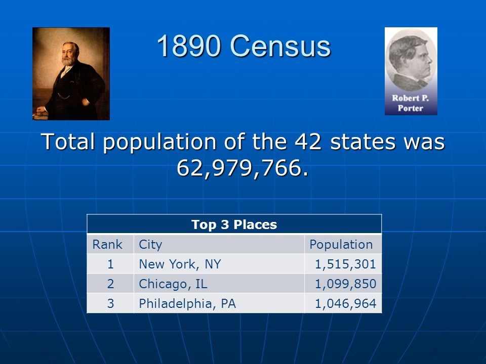 1890 Census Total population of the 42 states was 62,979,766.