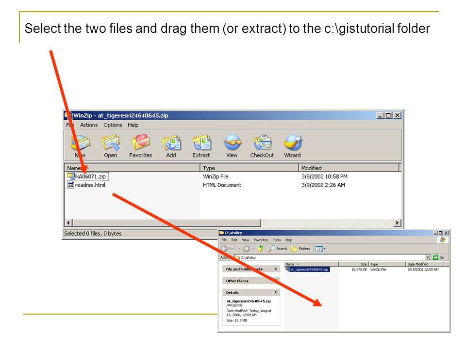Select the two files and drag them (or extract) to the c:\gistutorial folder