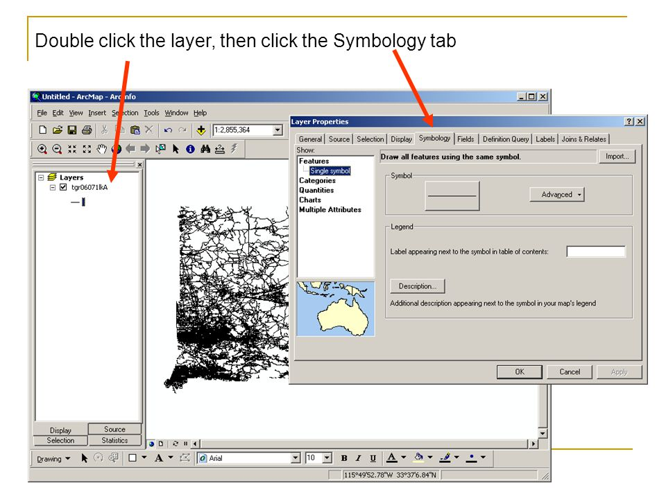Double click the layer, then click the Symbology tab