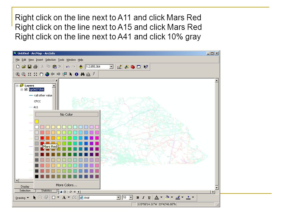 Right click on the line next to A11 and click Mars Red Right click on the line next to A15 and click Mars Red Right click on the line next to A41 and click 10% gray
