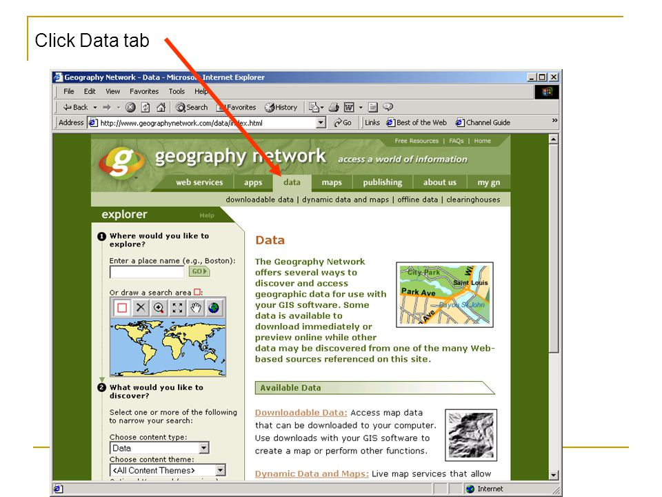 Click Data tab