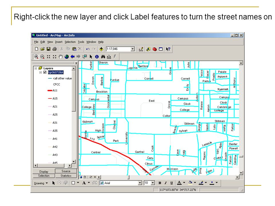 Right-click the new layer and click Label features to turn the street names on