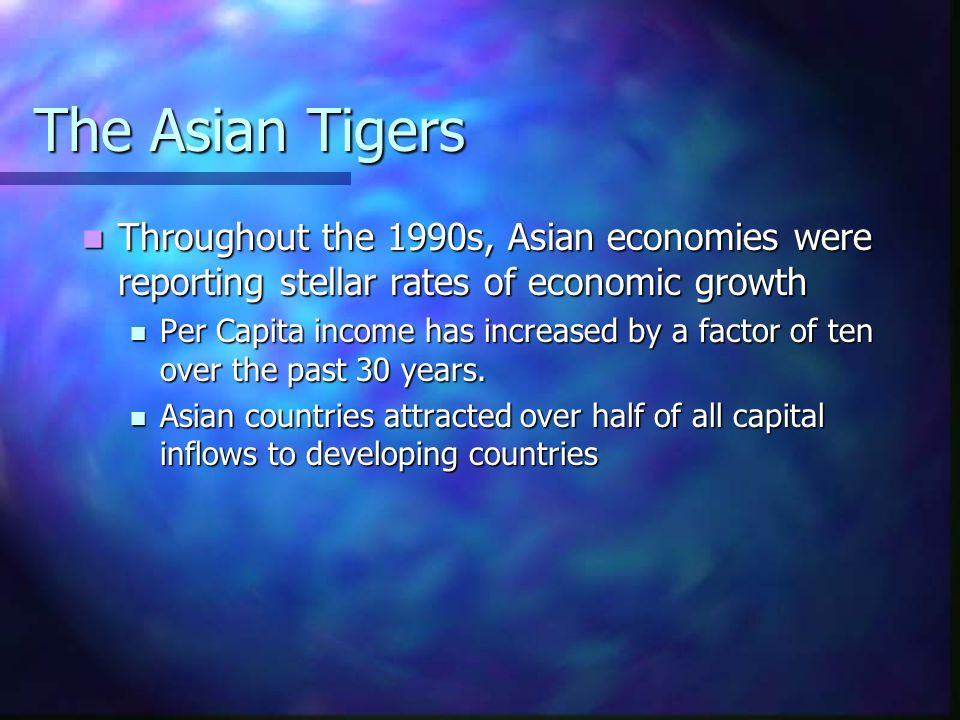 Government Deficits/Surplus (% of GDP) Country19931994199519961997 Korea.64.32.30.40.46 Indonesia.641.032.441.260 Malaysia.232.44.89.762.52 Philippines-1.461.04.57.28.06 Singapore15.6711.9313.0714.019.52 Thailand2.131.892.94.97-.32 Taiwan-3.88-1.73-1.09-1.34-1.68
