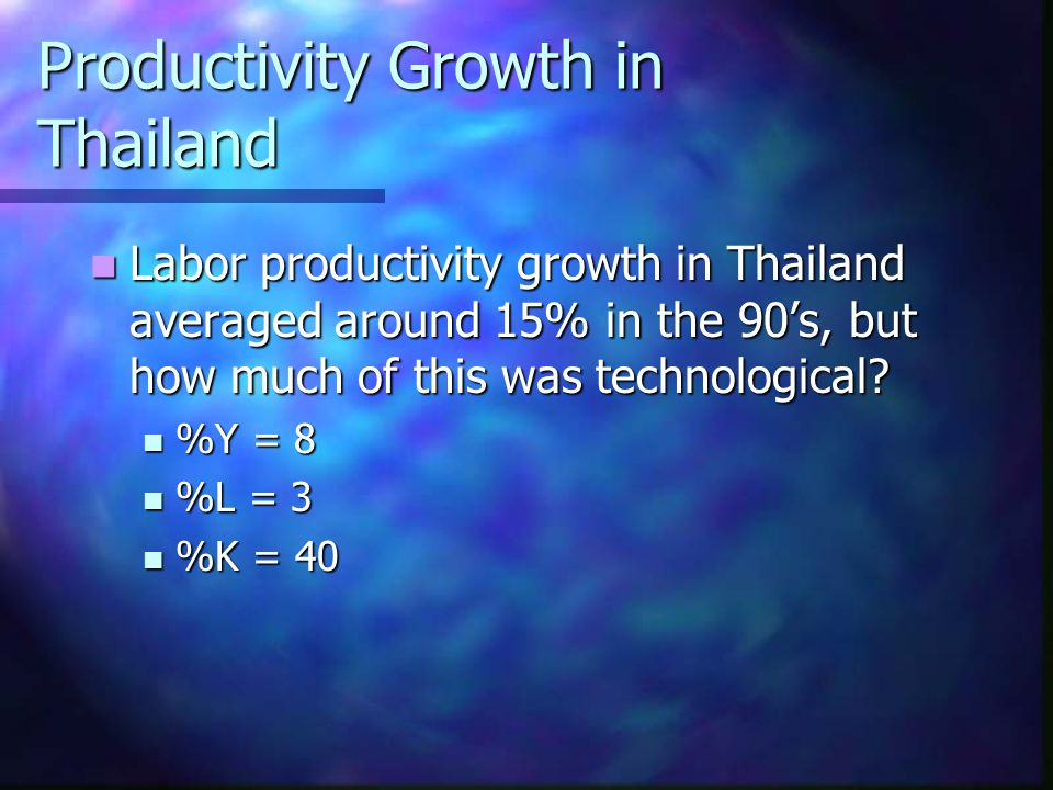 Productivity Growth in Thailand Labor productivity growth in Thailand averaged around 15% in the 90's, but how much of this was technological.