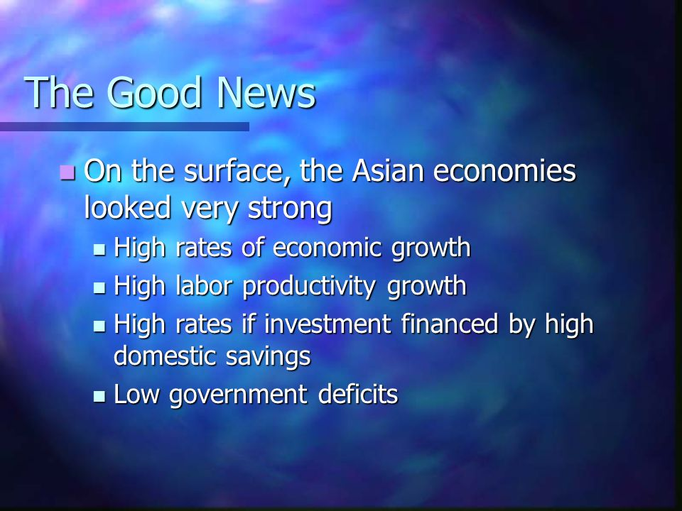 Investment Rates (% of GDP) Country19931994199519961997 Korea3536373834 Indonesia2931313031 Malaysia3740434142 Philippines2324222424 Singapore3732333537 Thailand3940414134 Taiwan2523232122