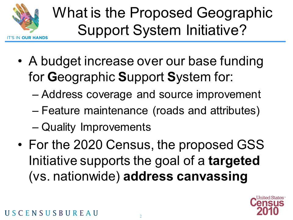 2 2 What is the Proposed Geographic Support System Initiative.