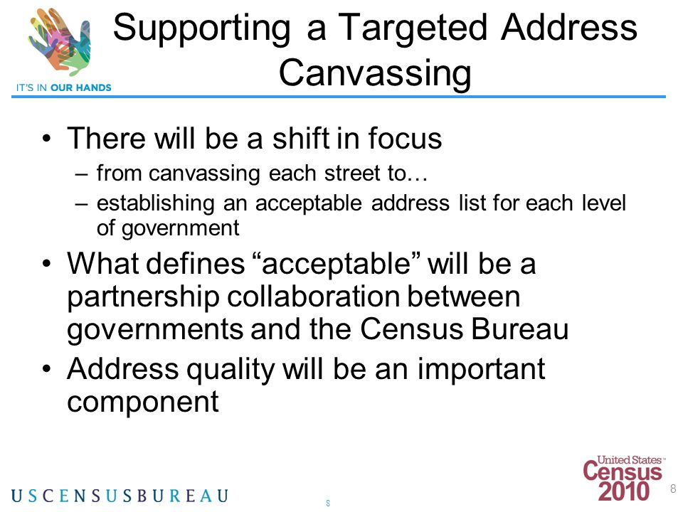 8 Supporting a Targeted Address Canvassing There will be a shift in focus –from canvassing each street to… –establishing an acceptable address list for each level of government What defines acceptable will be a partnership collaboration between governments and the Census Bureau Address quality will be an important component 8