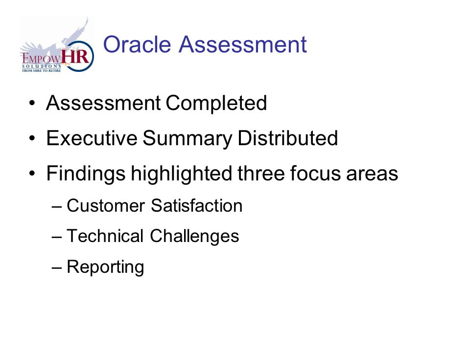 Oracle Assessment Assessment Completed Executive Summary Distributed Findings highlighted three focus areas –Customer Satisfaction –Technical Challenges –Reporting