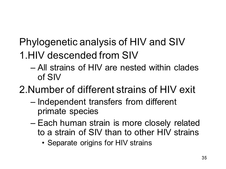 Phylogenetic analysis of HIV and SIV 1.HIV descended from SIV –All strains of HIV are nested within clades of SIV 2.Number of different strains of HIV