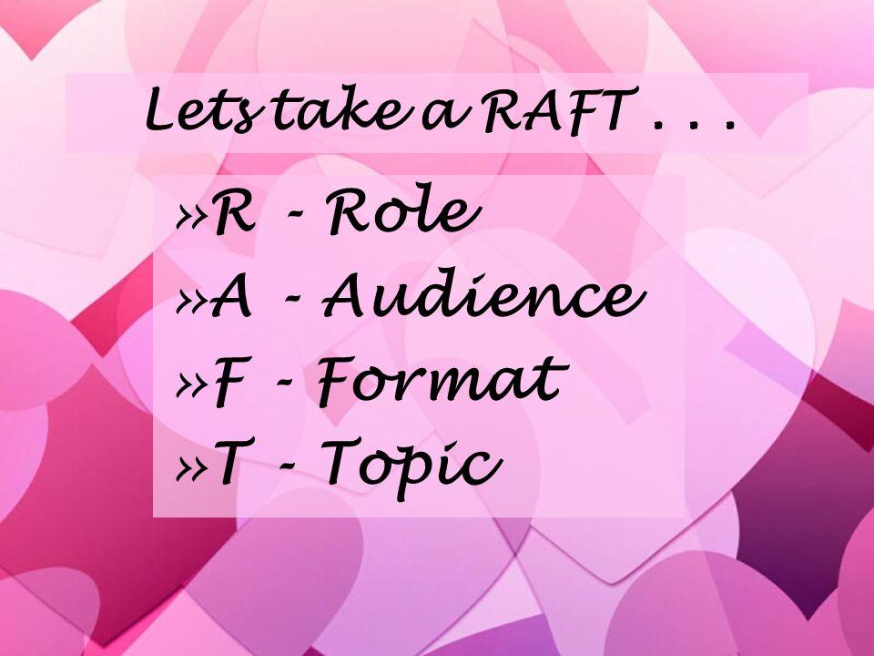 Lets take a RAFT...