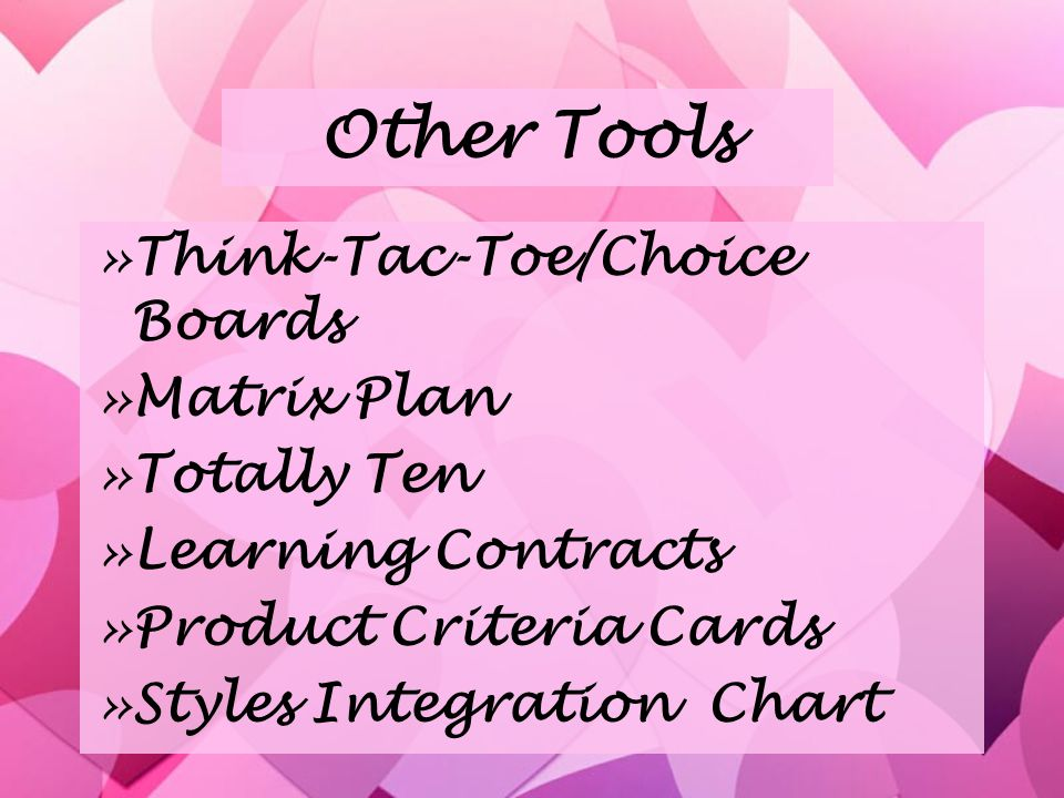 Other Tools »Think-Tac-Toe/Choice Boards »Matrix Plan »Totally Ten »Learning Contracts »Product Criteria Cards »Styles Integration Chart »Think-Tac-Toe/Choice Boards »Matrix Plan »Totally Ten »Learning Contracts »Product Criteria Cards »Styles Integration Chart