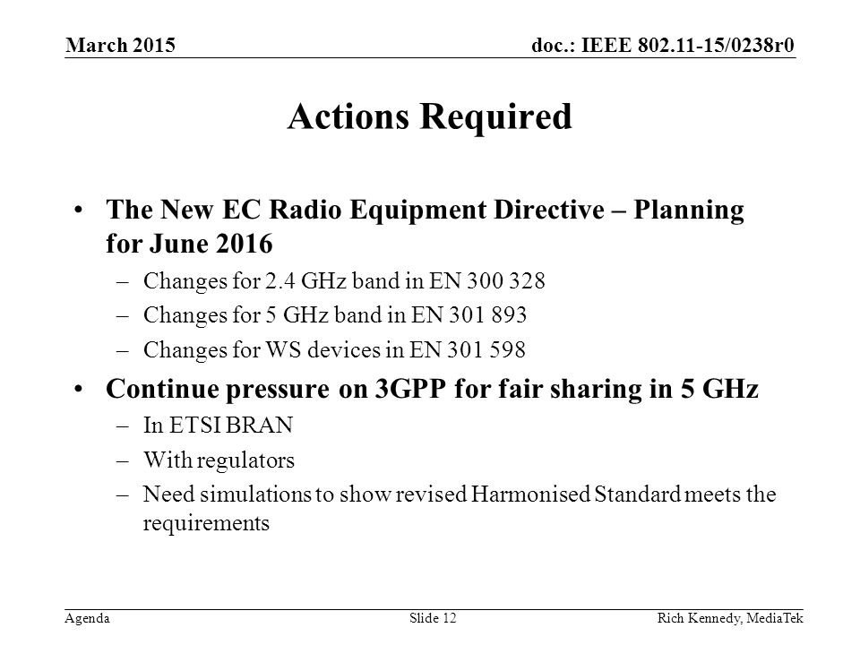 doc.: IEEE 802.11-15/0238r0 Agenda Actions Required The New EC Radio Equipment Directive – Planning for June 2016 –Changes for 2.4 GHz band in EN 300