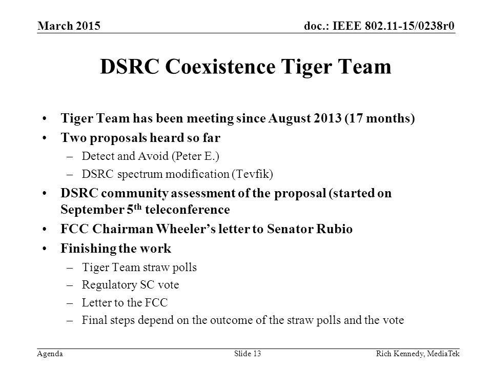 doc.: IEEE 802.11-15/0238r0 Agenda DSRC Coexistence Tiger Team Tiger Team has been meeting since August 2013 (17 months) Two proposals heard so far –D