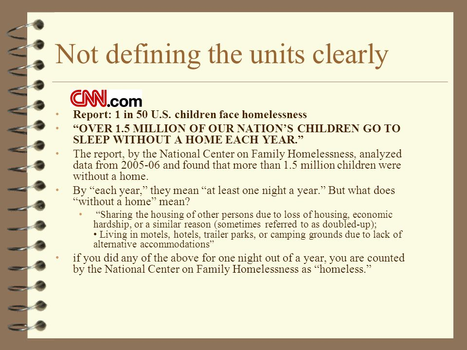 """Not defining the units clearly Report: 1 in 50 U.S. children face homelessness """"OVER 1.5 MILLION OF OUR NATION'S CHILDREN GO TO SLEEP WITHOUT A HOME E"""