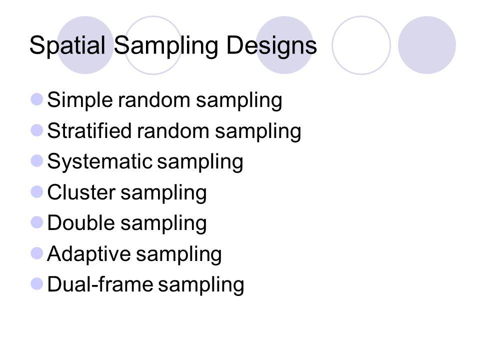 Spatial Sampling Designs Simple random sampling Stratified random sampling Systematic sampling Cluster sampling Double sampling Adaptive sampling Dual-frame sampling