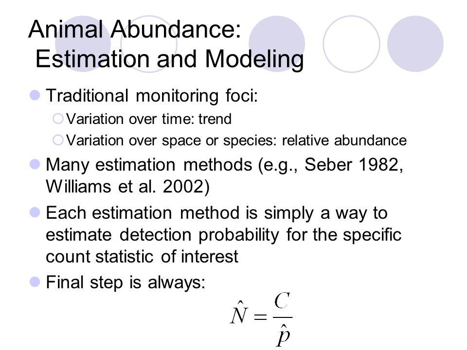 Animal Abundance: Estimation and Modeling Traditional monitoring foci:  Variation over time: trend  Variation over space or species: relative abundance Many estimation methods (e.g., Seber 1982, Williams et al.