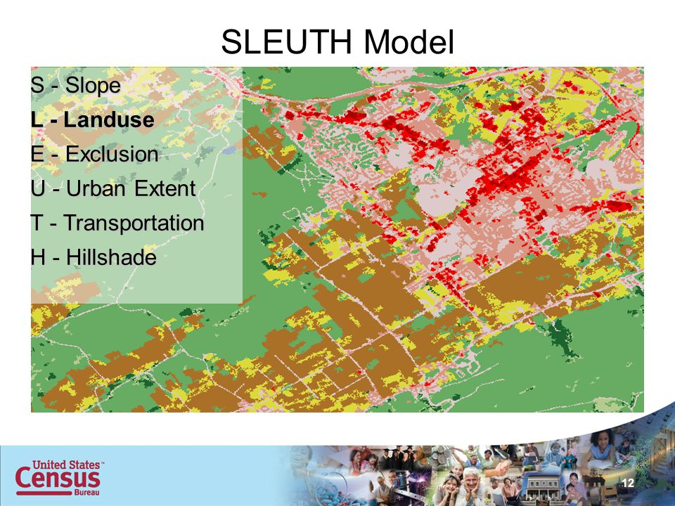 12 SLEUTH Model S - Slope L - Landuse E - Exclusion U - Urban Extent T - Transportation H - Hillshade