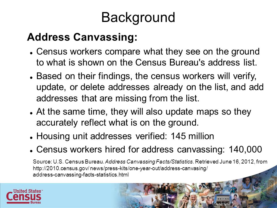 Address Canvassing: Census workers compare what they see on the ground to what is shown on the Census Bureau s address list.