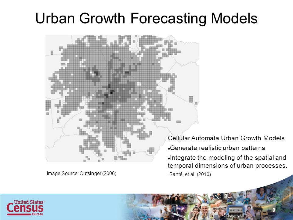 9 Image Source: Cutsinger (2006) Urban Growth Forecasting Models Cellular Automata Urban Growth Models Generate realistic urban patterns Integrate the modeling of the spatial and temporal dimensions of urban processes.
