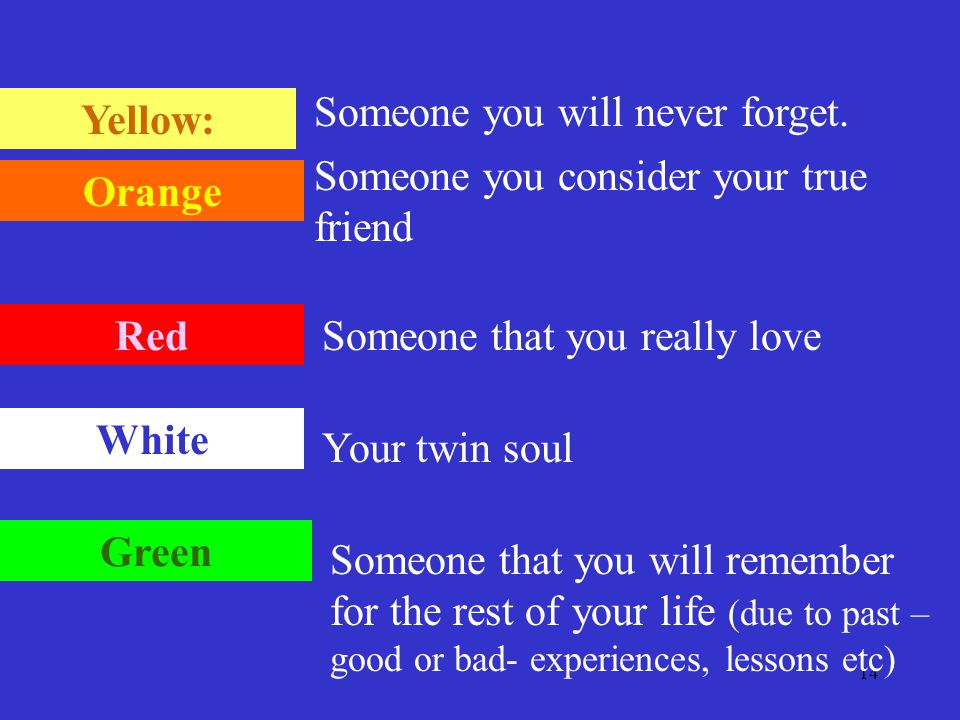 14 Yellow: Orange Red White Green Someone you will never forget. Someone you consider your true friend Someone that you really love Your twin soul Som