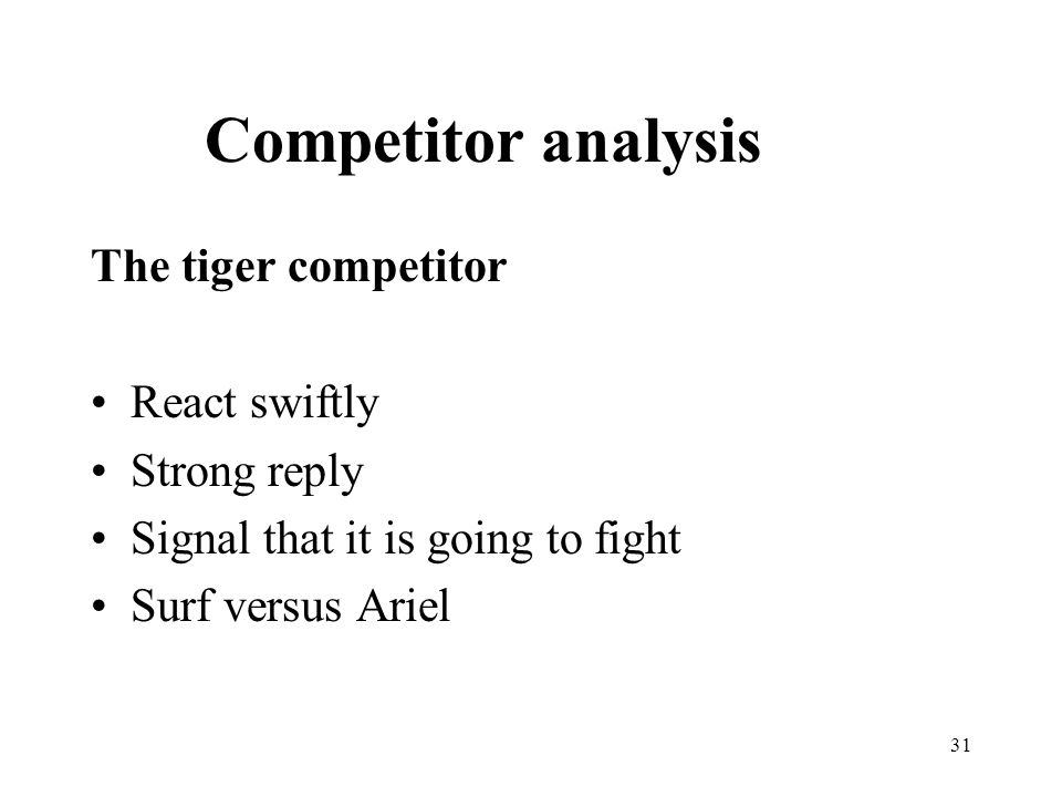 31 The tiger competitor React swiftly Strong reply Signal that it is going to fight Surf versus Ariel Competitor analysis