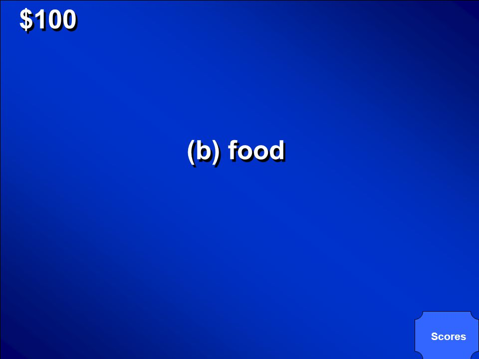 © Mark E. Damon - All Rights Reserved $100 Which basic need do plants meet by themselves, if they have sunlight? (a) air (b) food (c) shelter (d) wate
