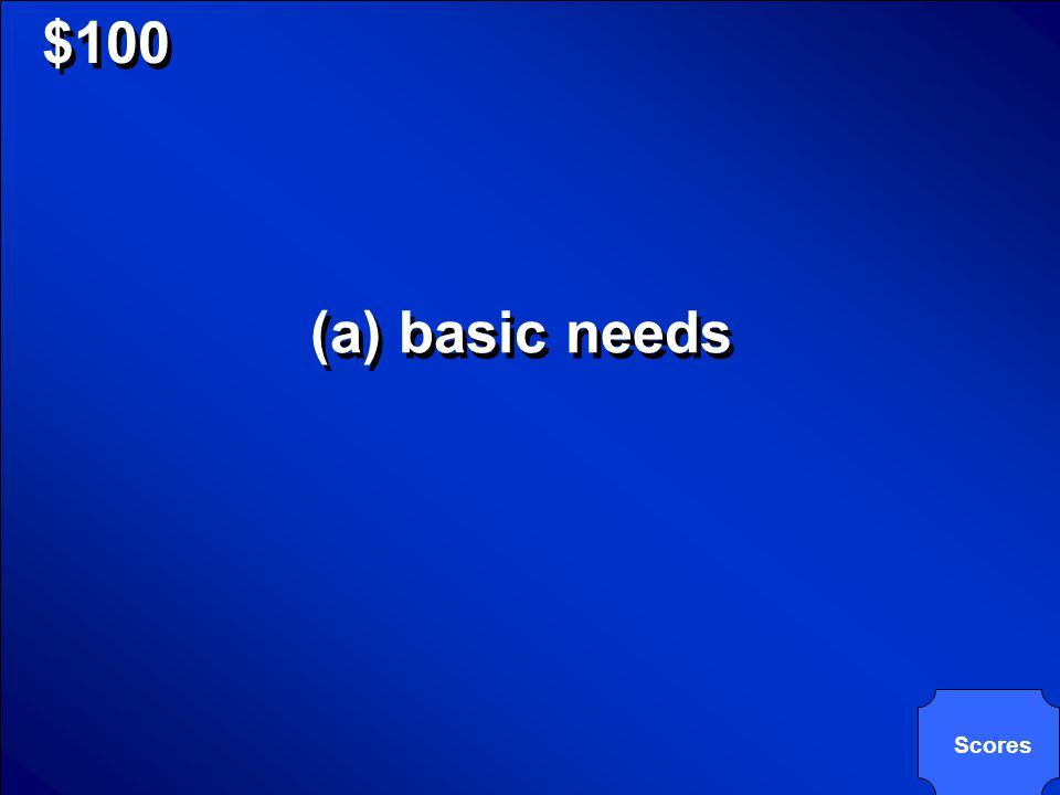 © Mark E. Damon - All Rights Reserved $100 Food, water, air, and shelter (a) basic needs (b) adaptations (c) instincts (d) niches Food, water, air, an