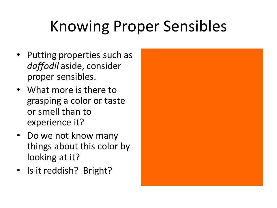 Knowing Proper Sensibles Putting properties such as daffodil aside, consider proper sensibles.
