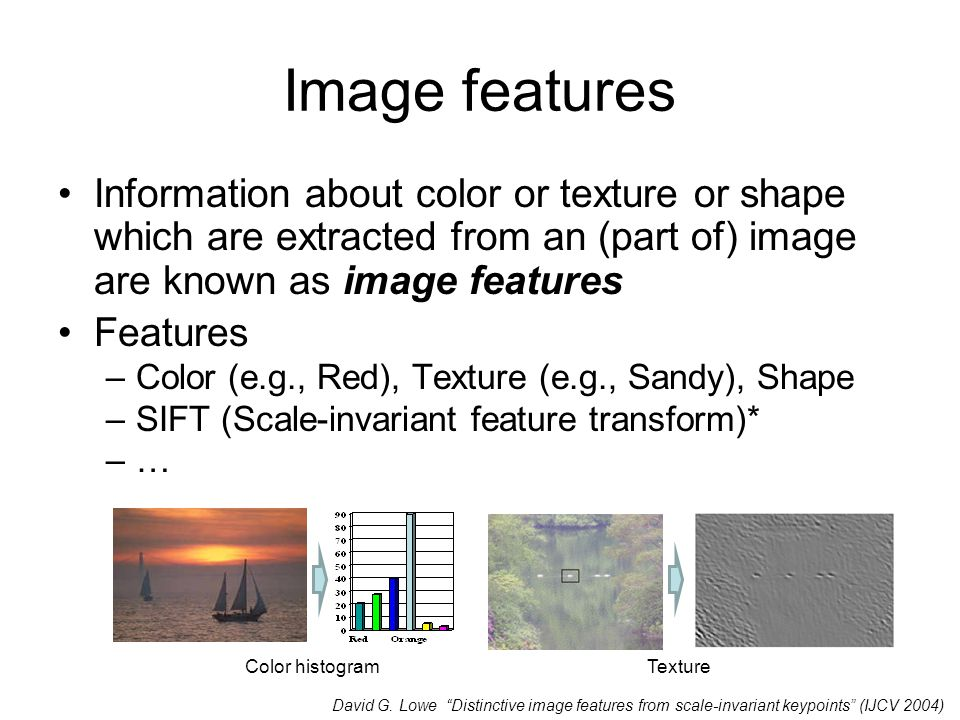 Image features Information about color or texture or shape which are extracted from an (part of) image are known as image features Features –Color (e.g., Red), Texture (e.g., Sandy), Shape –SIFT (Scale-invariant feature transform)* –… Color histogramTexture David G.