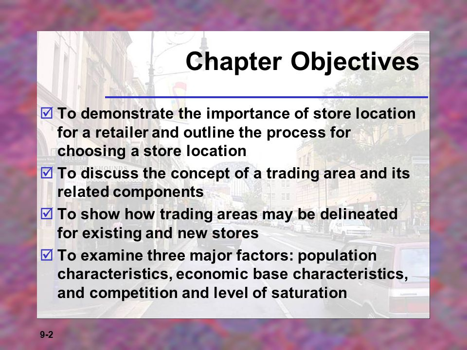 9-23 Huff's Law Huff's law of shopper attraction delineates trading areas on the basis of product assortment (of the items desired by the consumer) carried at various shopping locations, travel times from the shopper's home to alternative locations, and the sensitivity of the kind of shopping to travel time