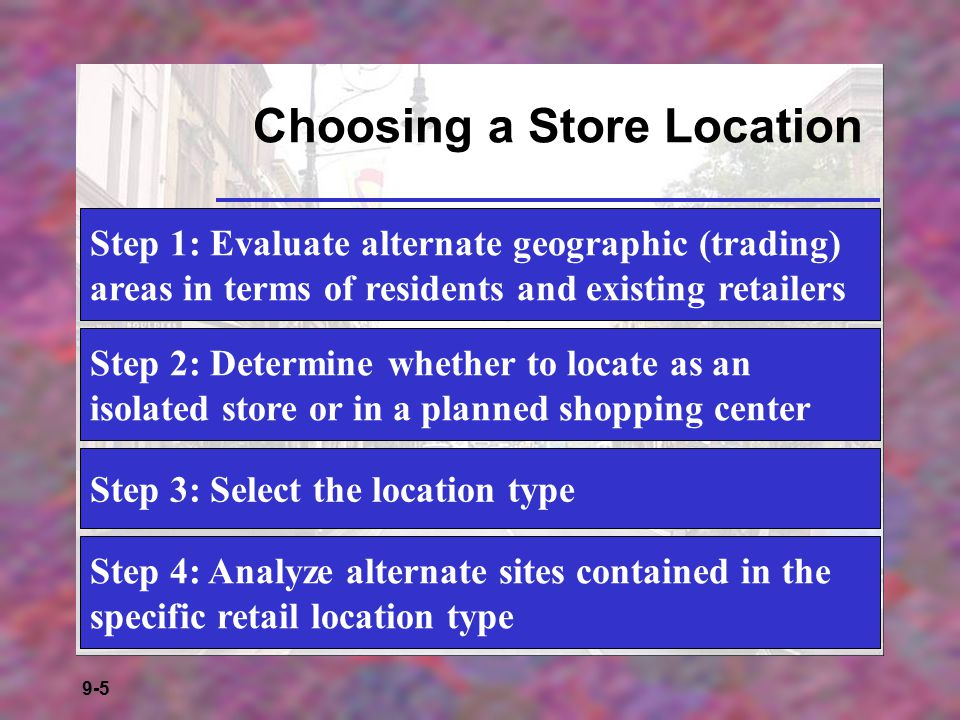 9-16 The Size and Shape of Trading Areas  Primary trading area - 50-80% of a store's customers  Secondary trading area - 15-25% of a store's customers  Fringe trading area - all remaining customers