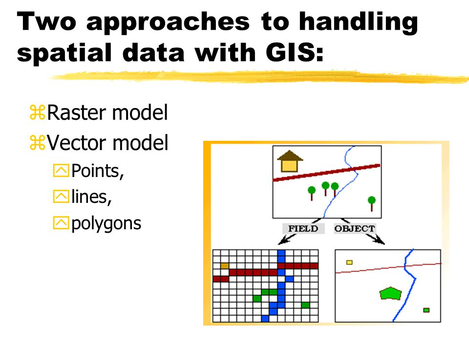 Raster GIS zRaster Data Model yRows and Columns of Cells (Array) yArea of Cell equals Spatial Resolution yValue for each cell records type of object or condition yCells do not correspond to spatial entities in real world x A road is a group of cells, not a single entity yCells are considered Homogeneous Units